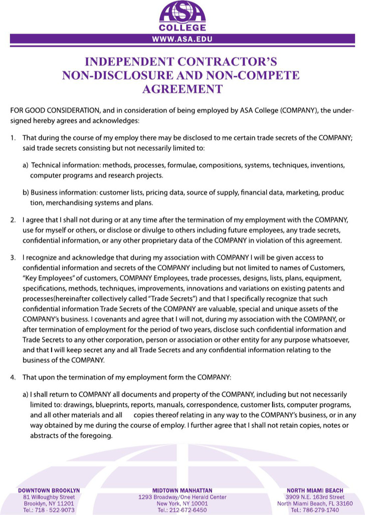 Sample Non Compete Agreement Independent Contractor Non Compete - business non compete agreement