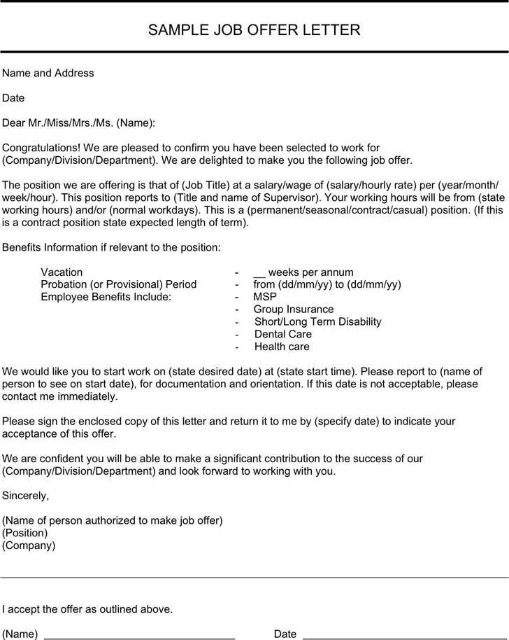 3+ Job Offer Letter Sample Free Download