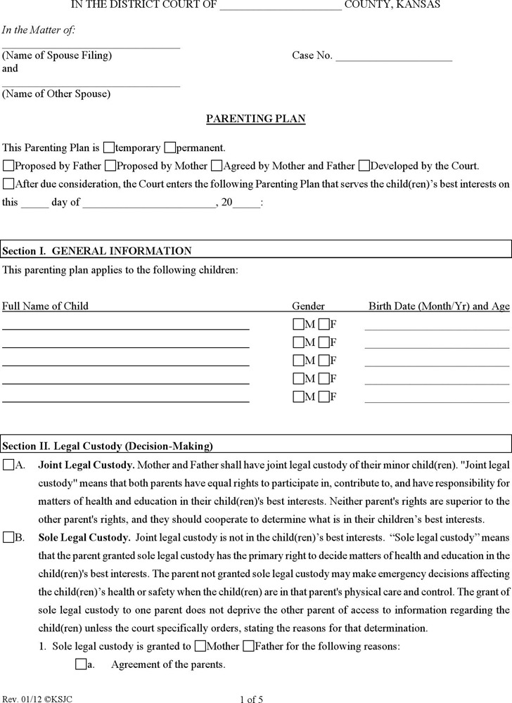 Parenting Plan Template Maryland Compromise Agreements - parenting plan example