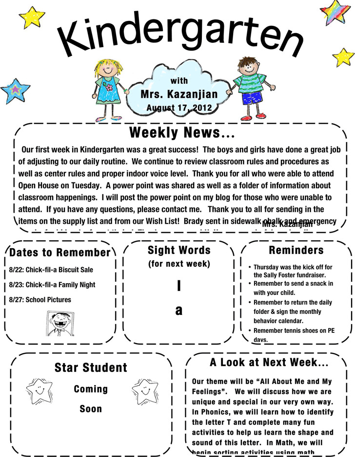 Kindergarten Newsletter Template Download Free  Premium Templates - kindergarten newsletter template