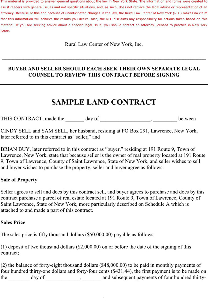 Land Contract Template Download Free  Premium Templates, Forms