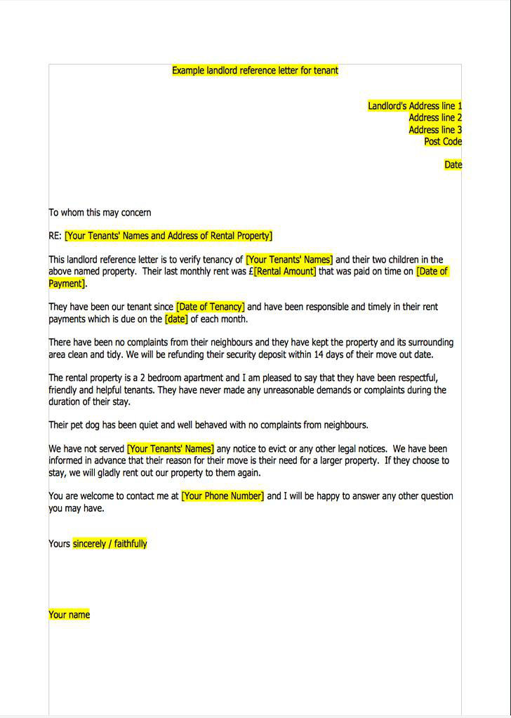 Sample Landlord Reference Letter Templates Download Free  Premium - sample landlord reference letter template