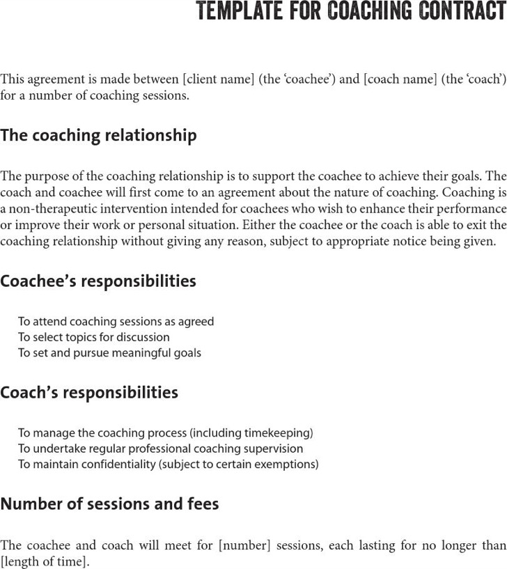 professional athlete contract template – Coaching Contract Template