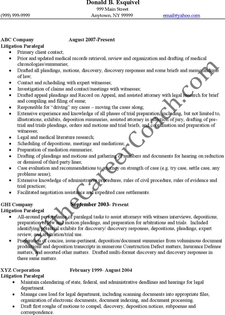 paralegal resume templates sample litigation paralegal resume
