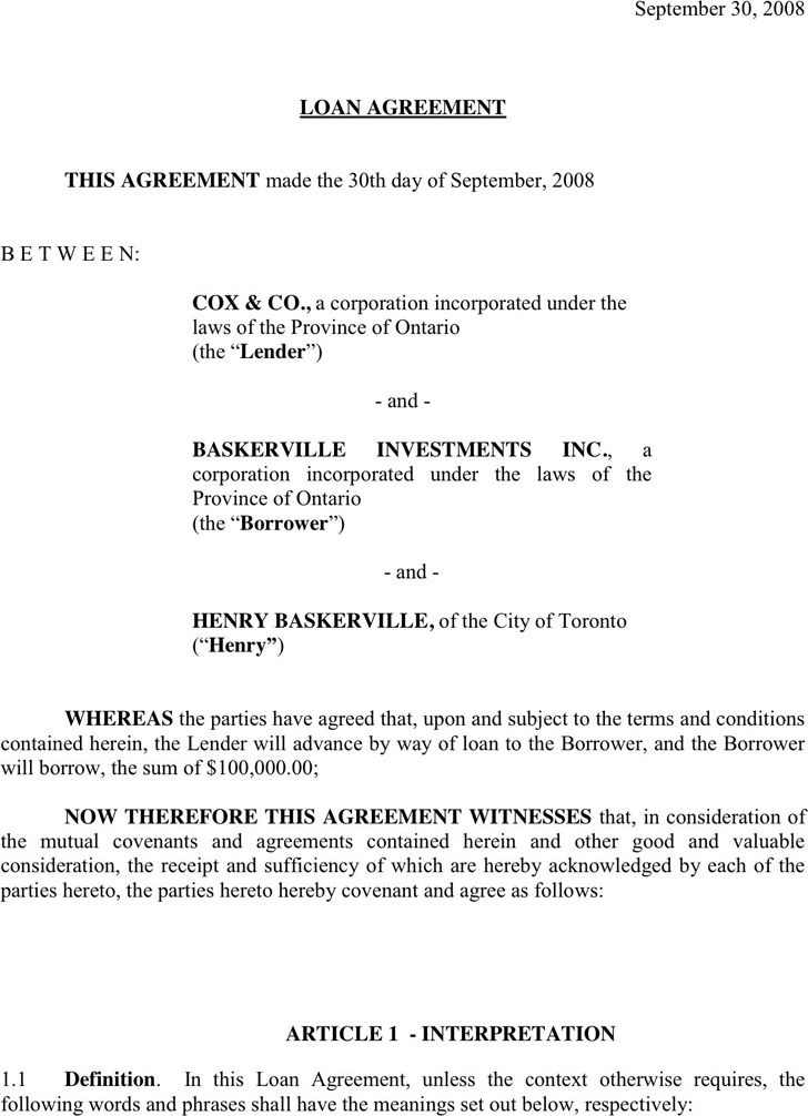 Loan Contract Template Construction Contract 9+ Loan Contract - free loan document template