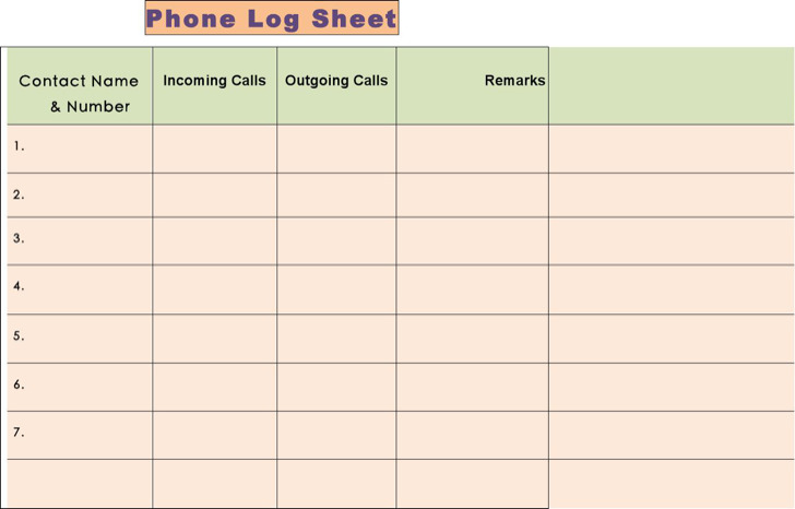 Phone Log Template Download Free  Premium Templates, Forms - phone call sheet template