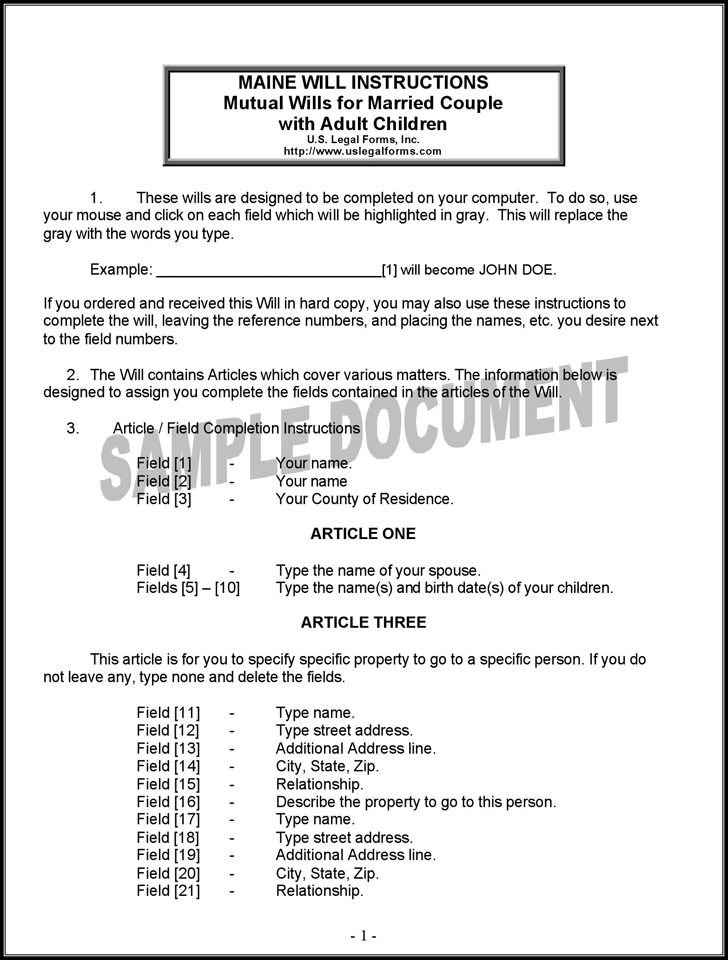 Last Will And Testament Forms Free Printable Last Will And - last will and testament form