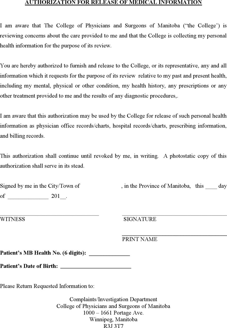 Manitoba Medical Release Form Download Free  Premium Templates