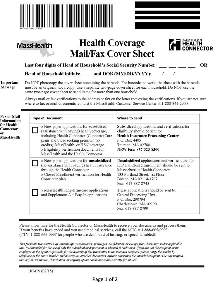 Masshealth Fax Cover Sheet Download Free  Premium Templates