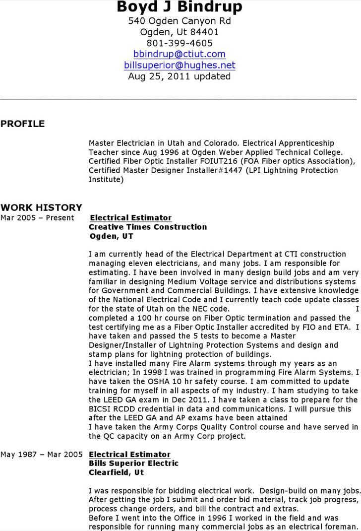 Electrician Resume Format Free Download Iti Templates Job Sample