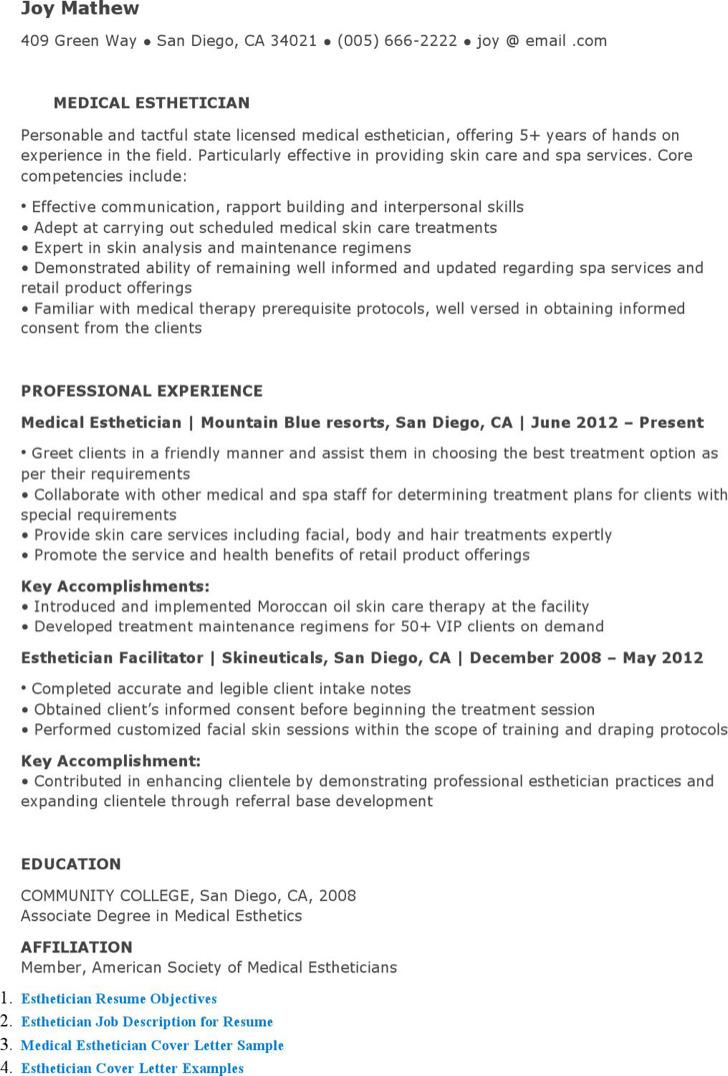 Medical Esthetician Resume oakandale