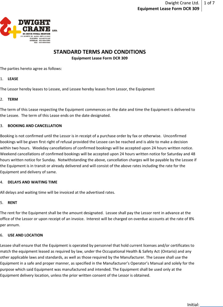 Sample Equipment Lease Templates Download Free  Premium Templates - equipment lease form