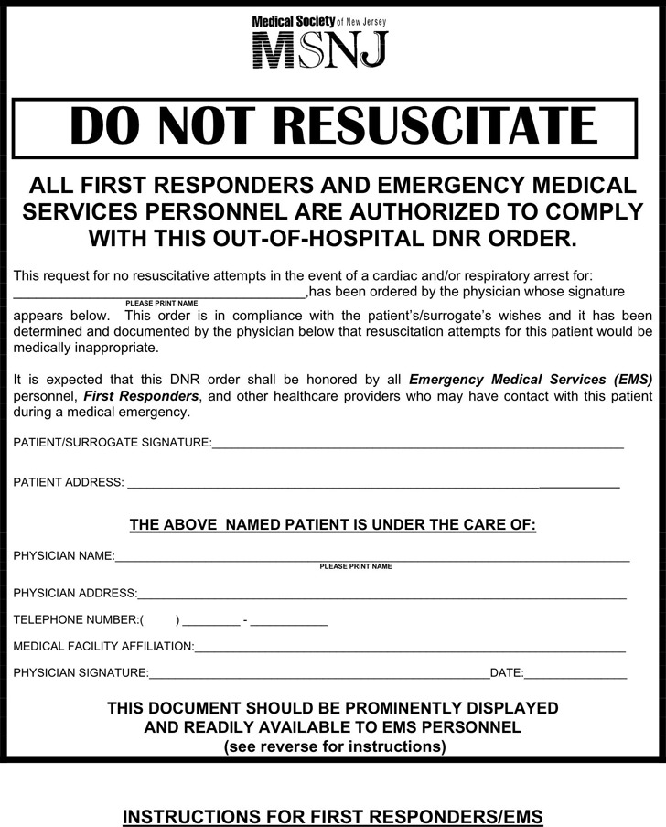 Nice Do Not Resuscitate Forms Motif - Best Resume Examples by - do not resuscitate forms