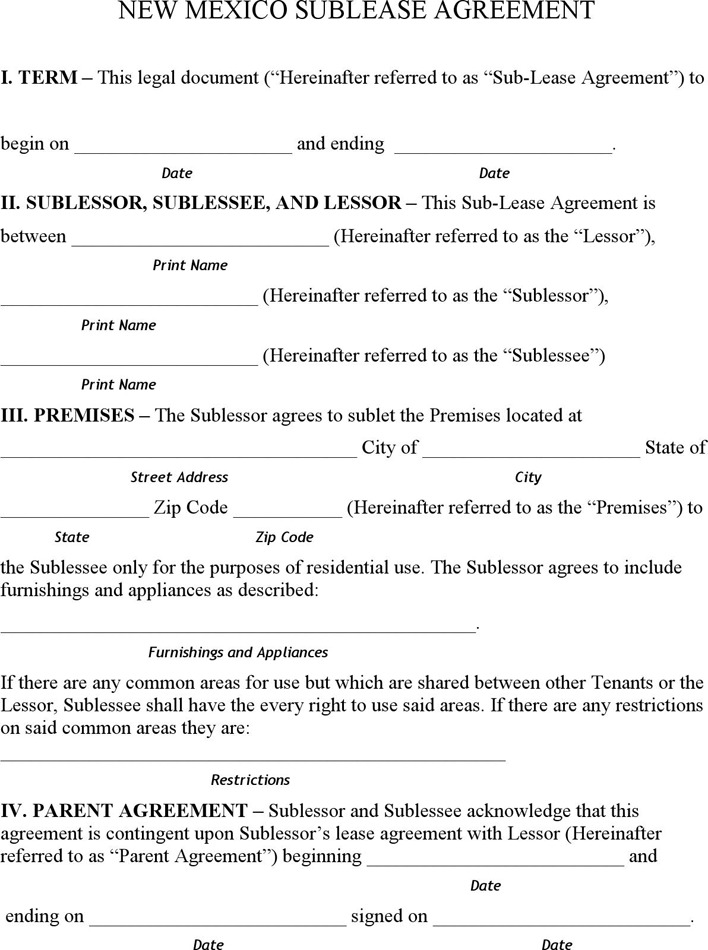 sublet agreement – Sublet Agreements