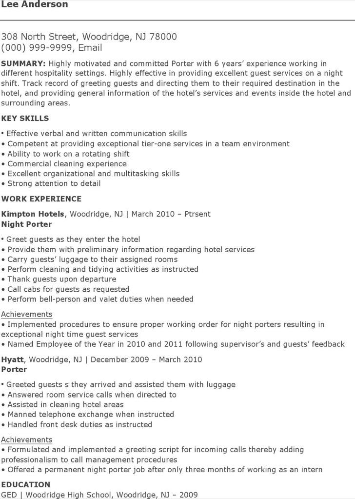 Porter Resume [Template.billybullock.us ]