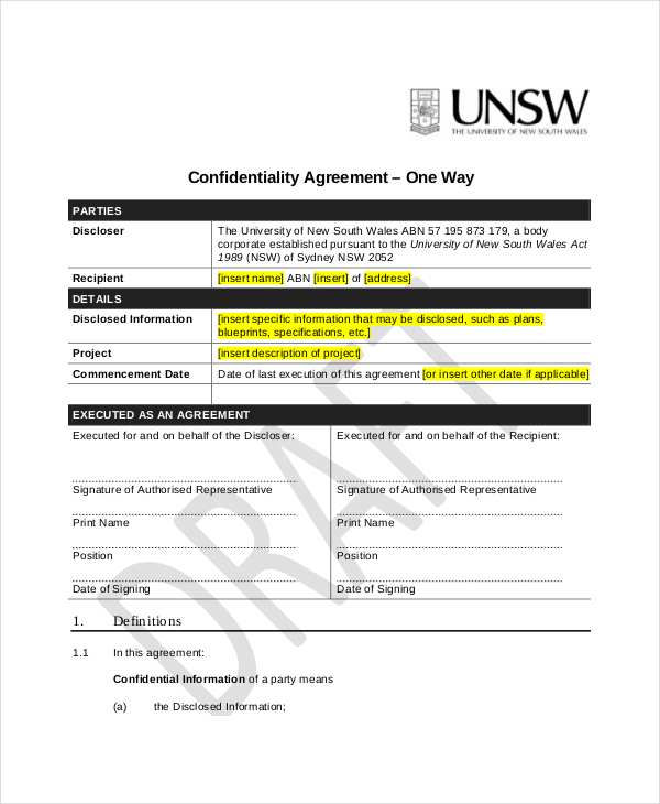 Generic Confidentiality Agreement Download Free - non disclosure agreement form