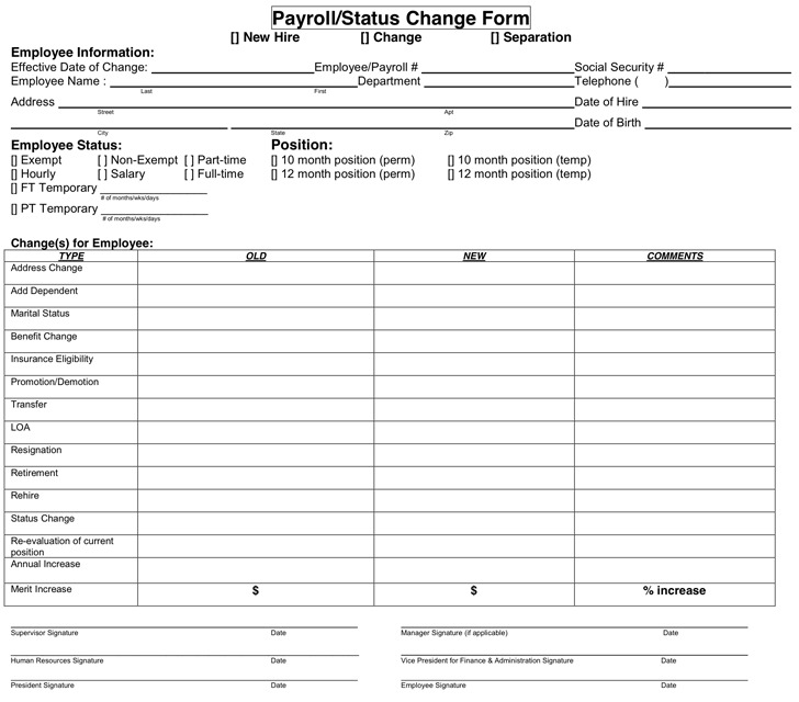 Employee Information Change Form Template