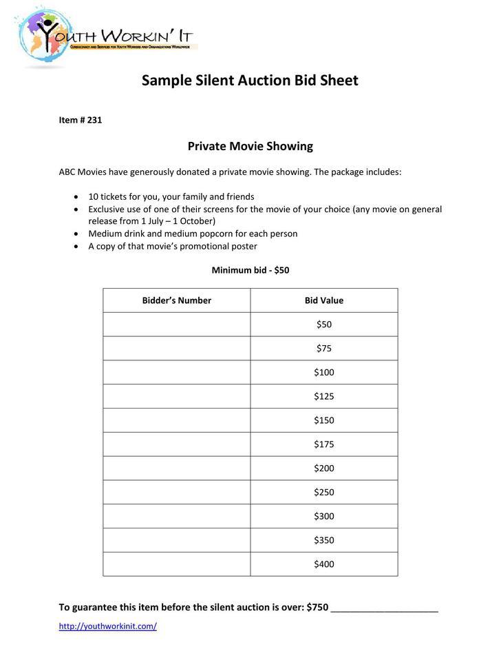 Bid Memo Templates Sample Silent Auction Bid Sheet Example Format
