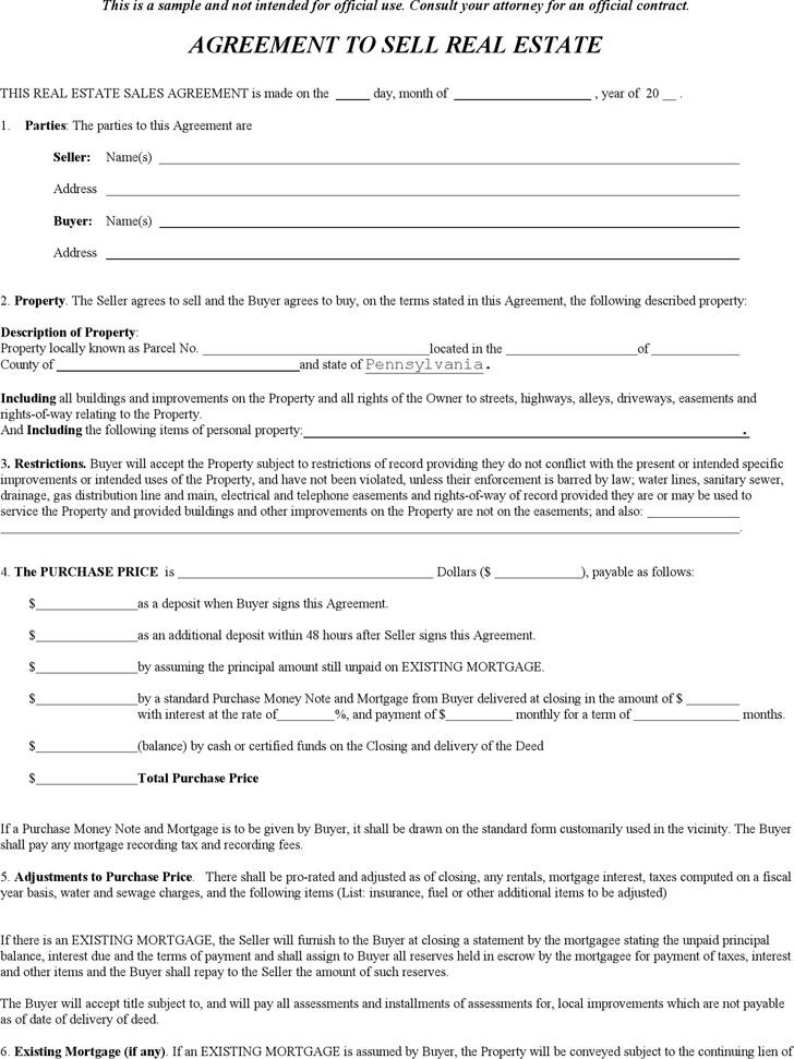 Pennsylvania Offer to Purchase Real Estate Form Download Free