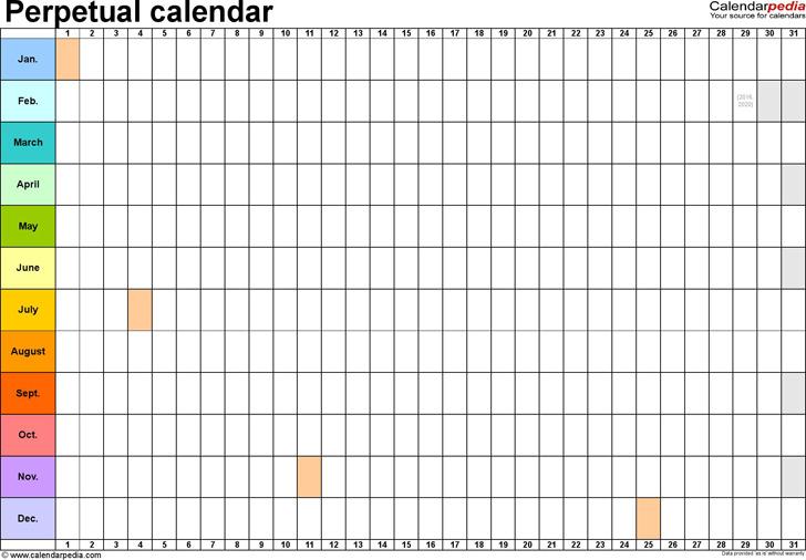 3+ Perpetual Calendar Template Free Download