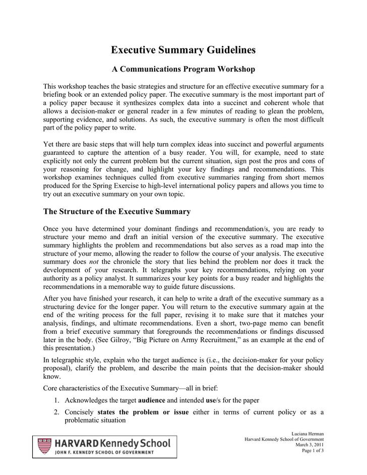 executive summary essay chapter summary template chapter book - executive brief sample