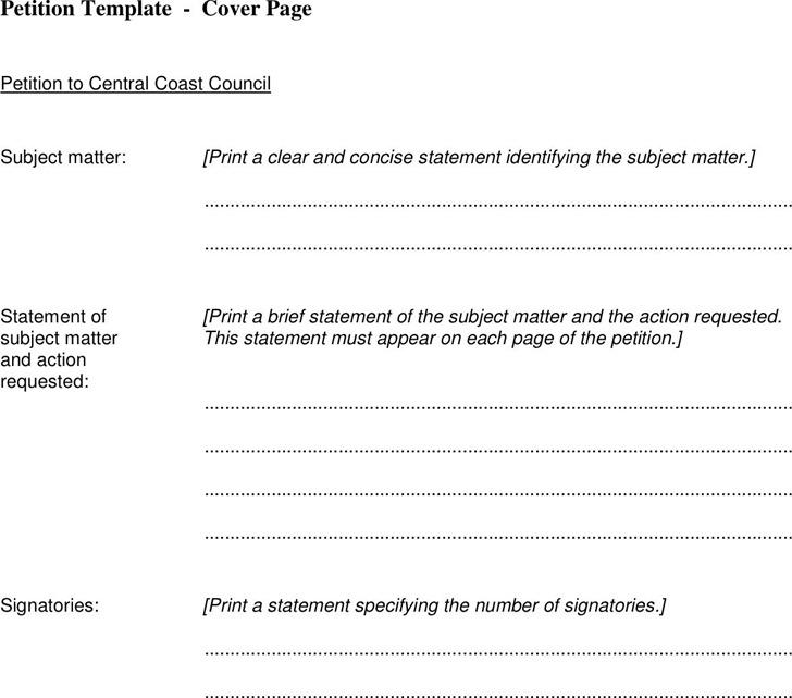 petition format template - Alannoscrapleftbehind