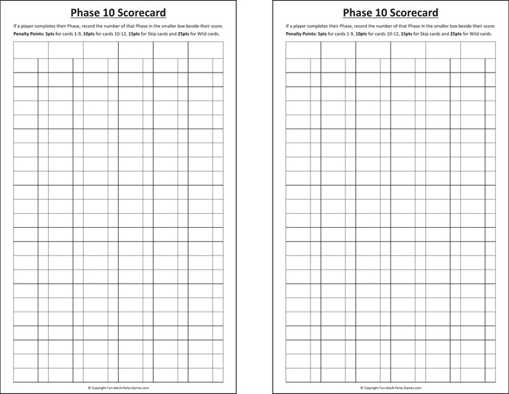 Phase 10 Score Sheet Download Free  Premium Templates, Forms - sample phase 10 score sheet template
