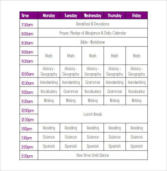 college school schedule template