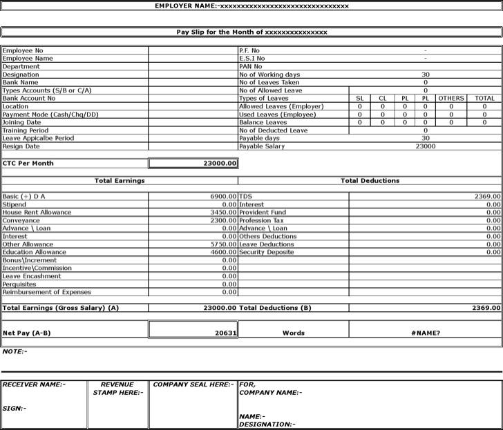 Employee Salary Slip Format Download 4+ school pay slip format