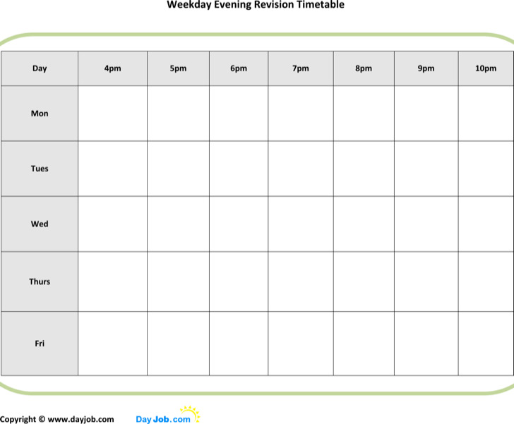 Revision Timetable Template gcse revision timetable mar at tips - revision timetable template