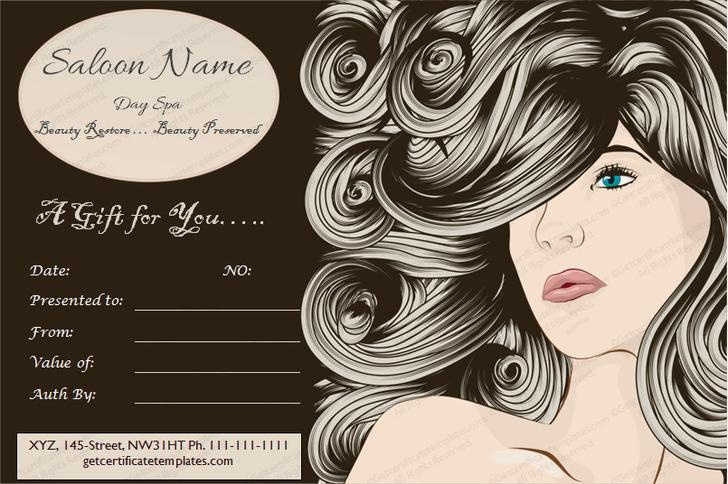 Free Printable Hair Salon Gift Certificate Template - Costumepartyrun - free printable gift certificate templates online