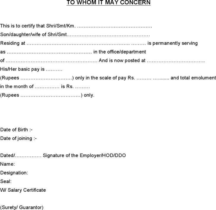 Salary Certificate Template Salary Certificate Template Salary - format of salary certificate letter