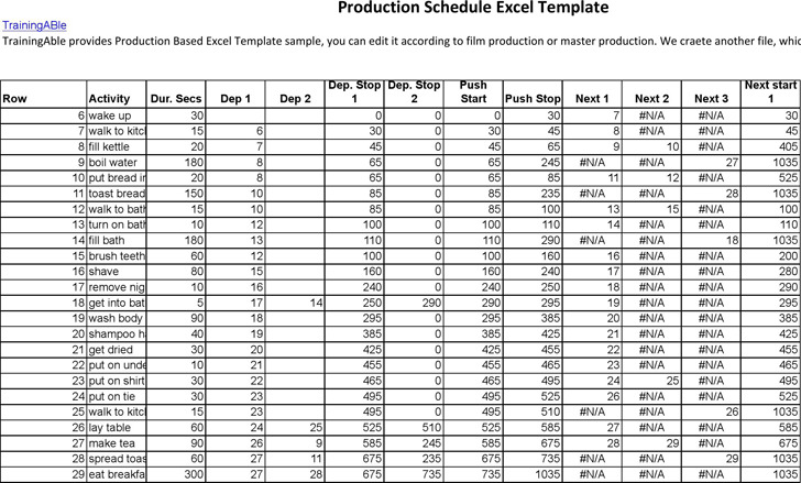 Production Schedule Template Download Free  Premium Templates - sample production schedule template