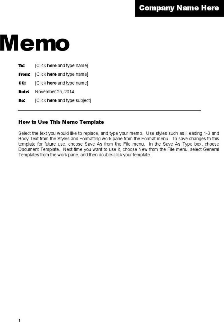 Professional Memo Template Download Free  Premium Templates