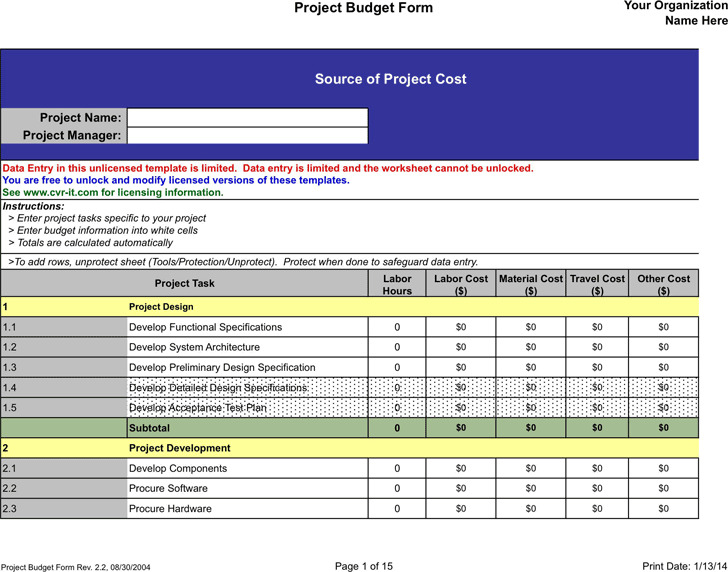 Project Budget Template Download Free \ Premium Templates, Forms - sample construction budget