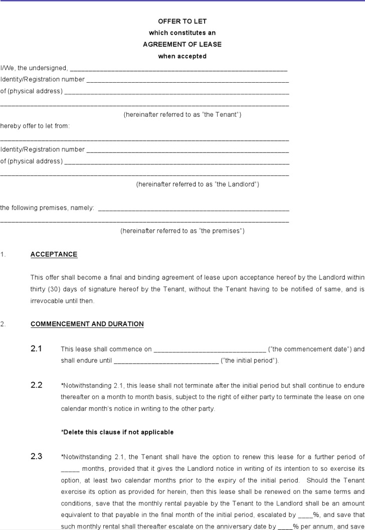 free lease agreement template word - Militarybralicious - free lease agreement word