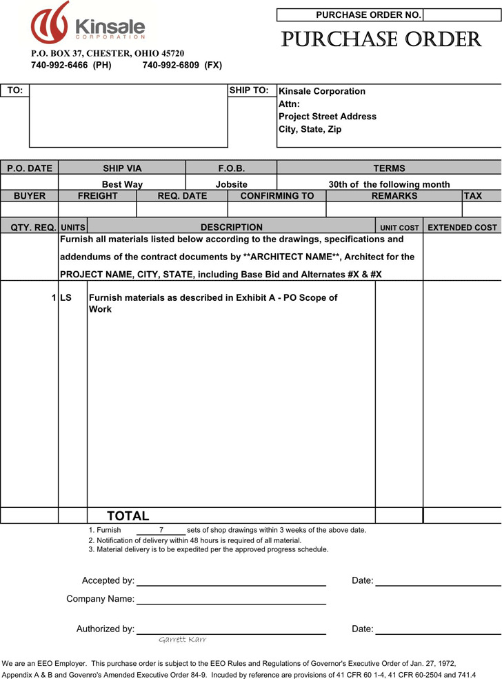 Purchase Order Template Download Free  Premium Templates, Forms