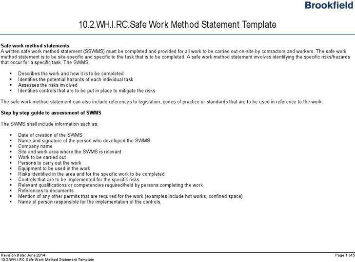 Method Statement Download Free  Premium Templates, Forms