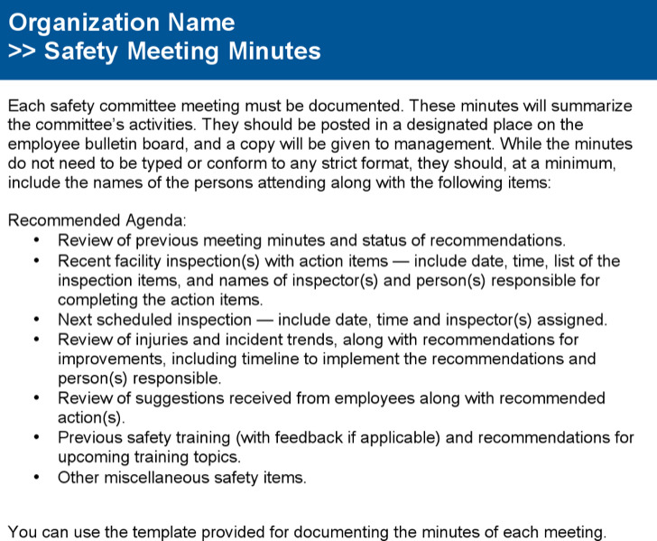safety meeting forms download - Towerssconstruction