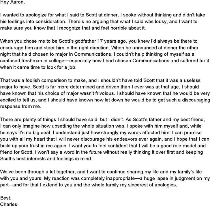 Apology Letter Examples Download Free  Premium Templates, Forms - apology letter to family