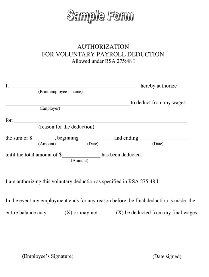 Payroll Deduction Form Download Free  Premium Templates, Forms - free payroll forms