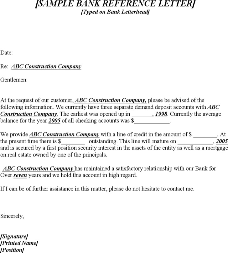 Sample Bank Reference Letter Templates Download Free  Premium