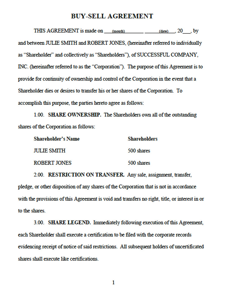 Buy Sell Agreement Download Free  Premium Templates, Forms