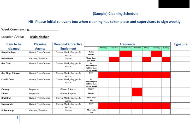 4+ Cleaning Schedule Template Free Download