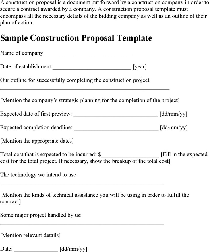 Construction Proposal Sample Construction Contract Proposal - informal proposal template