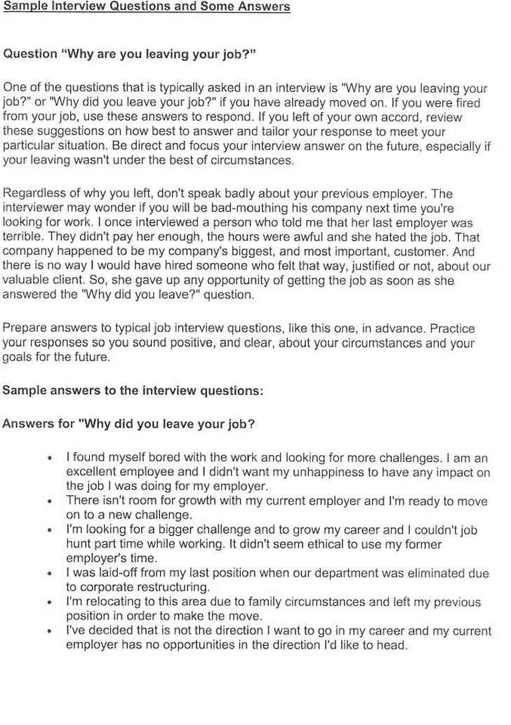 Sample Interview Questions and Answers Download Free  Premium - sample interview questions