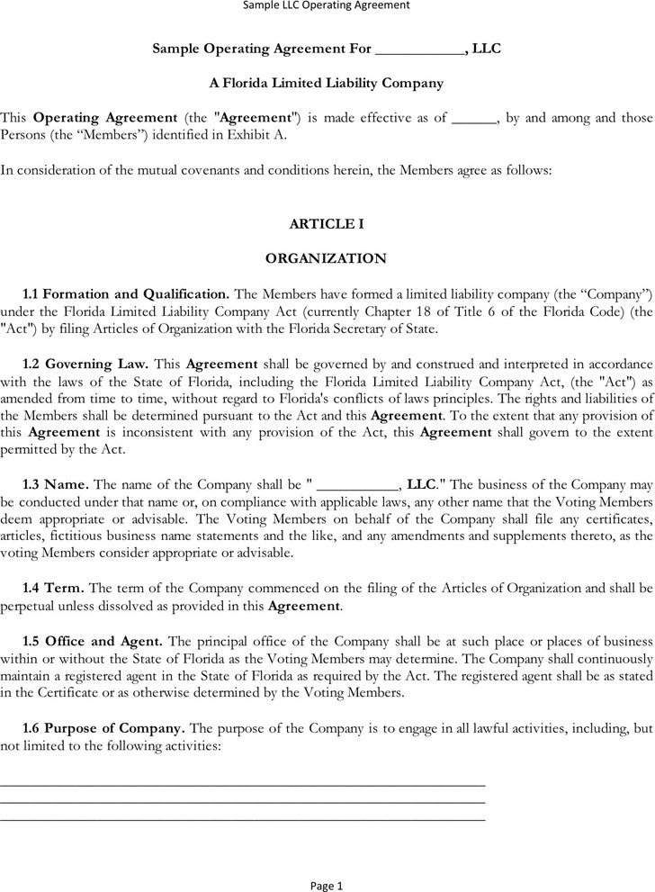 LLC Operating Agreement Download Free  Premium Templates, Forms - business operating agreement