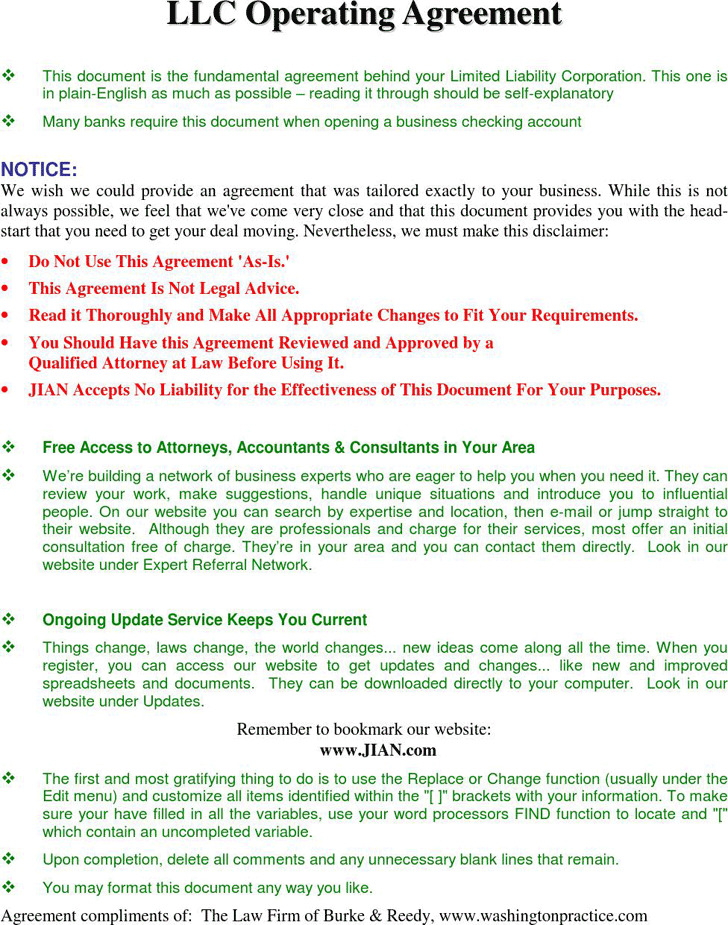 LLC Operating Agreement Download Free  Premium Templates, Forms