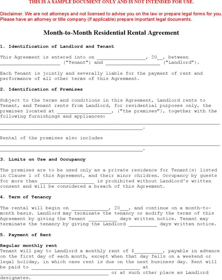 Sample Month to Month Lease Templates Download Free  Premium - Sample Monthly Rental Agreement