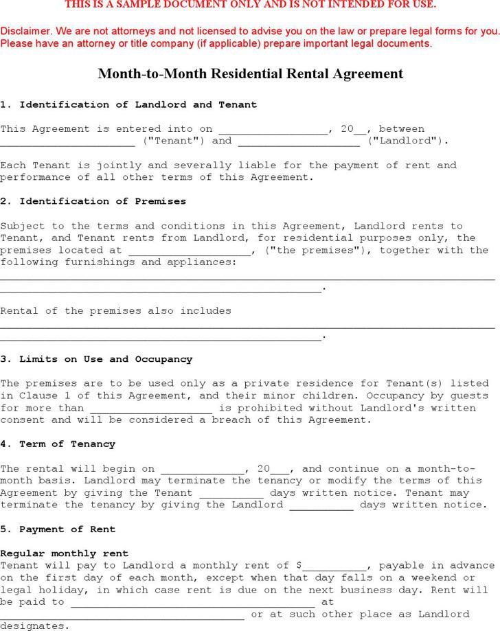 Sample Generic Rental Agreement Printable Sample Simple Room Rental - blank lease agreement